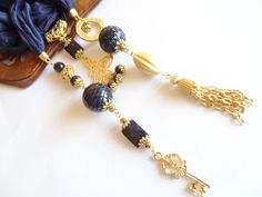 Navy Blue Silk Ottoman Tugra Gold Plated by sevinchjewelry on Etsy, $60.00