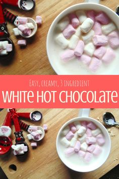 Easy, creamy, 3 ingredient white hot chocolate that you can make in just 5 minutes! Who needs Starbucks?