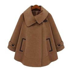 New Style Vogue Lapel Cape Style Duffle Coat Camel found on Polyvore