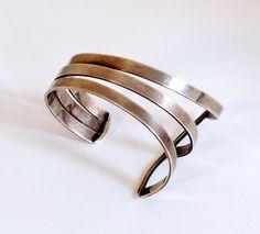 Cuff | Paul Lobel handmade sterling cuff, c. 1950's / M. Schon