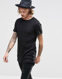 ASOS+Super+Longline+Muscle+T-Shirt+In+Rib+With+Popper+Curved+Hem+In+Black