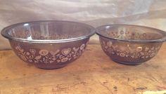 Vintage Set of Two Brown Nesting Pyrex Baking/Mixing Bowls #Pyrex