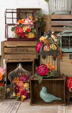 Terrariums and birdhouses are a lovely way to showcase springtime blooms.