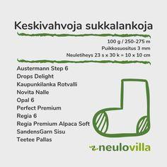 Sukkalankataulukko - Neulovilla Drops Delight, Knitting Stitches, Headbands, Diy And Crafts, Sewing, Crotchet, Yarns, Knitting Patterns, Head Bands