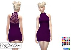 Mock Neck Lace Back Mini at NyGirl Sims via Sims 4 Updates Sims 4 Dresses, Sims 4 Mm Cc, The Sims 4 Download, Naruto, Sims 4 Update, Sims 4 Clothing, Ts4 Cc, Lace Back, Mock Neck