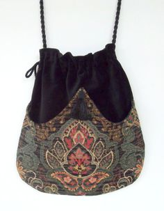Classy Chenille Boho Bag Green and Black Drawstring Bag Black Velvet Bag Bohemian Bag Crossbody Purse. $40.00, via Etsy.