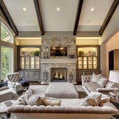 Built ins around fireplace built ins around tall for Great living room ideas