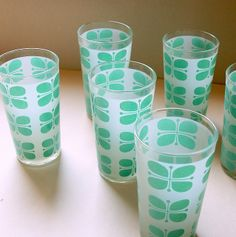 FROSTED MINT VINTAGE Mid Century Drinking Glass Set of Six (6) Lovely Geometric Pattern Glassware Tumblers in Pastel Green by Aces Finds Vintage, via Flickr