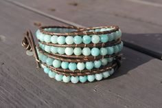 Summer Blue Beaded Leather Wrap Bracelet. $37.00, via Etsy.
