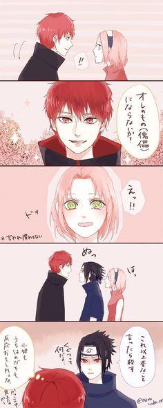Sasori, Sakura, & jealous Sasuke XD