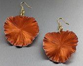 Handmade Orange Anodized Aluminum Lily Pad Earrings - Large - Makes a Cool 10th Wedding Anniversary Gift! - Handmade Jewelry by John S Brana