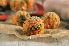 Sweet Potato & Kale Balls from The Balanced Platter. Vegan and gluten free.