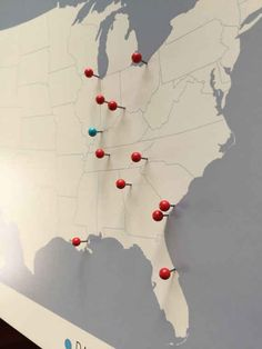 This personalized push pin travel map on canvas makes a beautiful