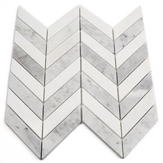 Talon White Carrara and Thassos Marble Tile | TileBar.com