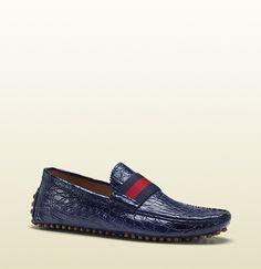 Gucci - blue crocodile pebble bottom driver 304763CMA406260 - GUCCI Men's Shoes #gucci #guccishoes #guccimensfashion