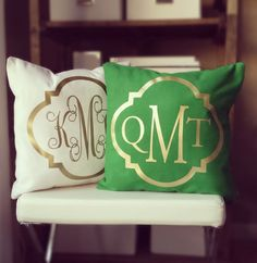 Monogram Throw Pillow Cover - Kelly Green Metallic Gold or Silver Monogram by itsnotbusinessshop on Etsy https://www.etsy.com/listing/173833643/monogram-throw-pillow-cover-kelly-green