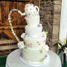 Teapot Wedding Cake by Divine Bakes - http://cakesdecor.com/cakes/249611-teapot-wedding-cake