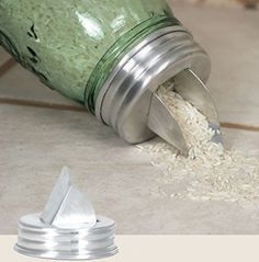 Mason jar grain dispenser lid
