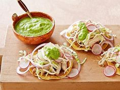 Chicken Tostadas with Fresh Tomatillo-Avocado Salsa : Marcela Valladolid : Food Network Best Mexican Recipes, Top Recipes, Dinner Recipes, Cooking Recipes, Favorite Recipes, Easy Recipes, Drink Recipes, Guacamole, Tex Mex