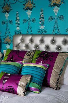Contemporary bohemian bedroom ideas silver tufted headboard wall murals decorative pillows