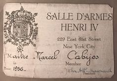 Membership card from the Salle D'Armes Henri IV, 1936 New York City, Cards, New York, Maps, Nyc, Playing Cards