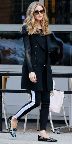 Olivia Palermo // Track Pants // Printed Loafers // Double-Breasted Coat with Leather Sleeves // Cool Casual