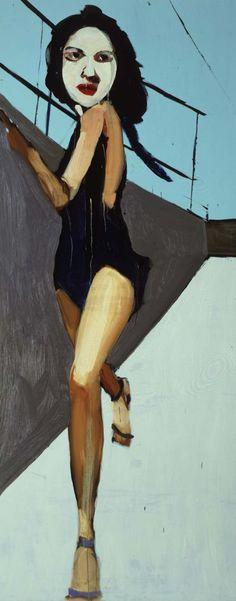 Chantal Joffe  Walking Woman  2004    http://www.saatchi-gallery.co.uk/artists/artpages/chantal_joffe_walking_woman.htm    Oil on board  305 x 124 cm