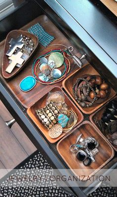 All those pretty wooden bowls at HomeGoods, need not only be used for salads: Rethink wooden bowls & trays in new ways - They are great for organizing jewelry in drawers too - HappyByDesign HomeGoodsHappy