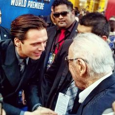 Stan Lee & Sebastian Stan Captain America Civil War premier. If you don't think this picture is the best, then go away.