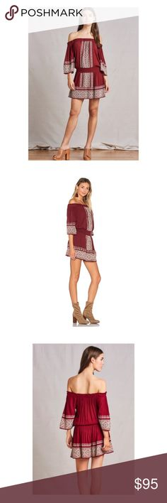 Tularosa Fiona embroidered off shoulder Dress S Sexy and cute dress by Tularosa. . Off the shoulder with ruffle trim. elbow length sleeves. Elasticized waist. Embroidered detail thruout. Lined. Brand-new with tags's. Color is Mulled Wine. Tularosa Dresses Mini