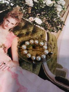 Oval pendant brooch cultured pearls 12kt gold filled filigree Signed antique
