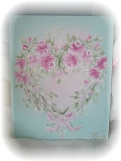Shabby Sweet Hand Painted AQUA Art Pink Roses by RoseChicFriends, $19.99