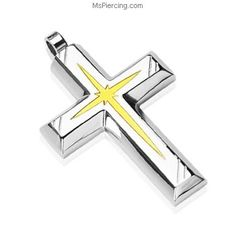 316L Stainless Steel PVD Gold Star Centered Cross Pendant #mspiercing #piercings
