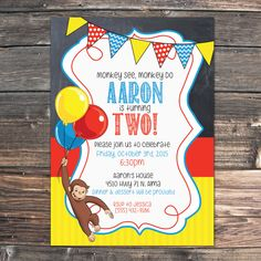 Hey, I found this really awesome Etsy listing at https://www.etsy.com/listing/235690125/curious-george-birthday-invitation-pdf