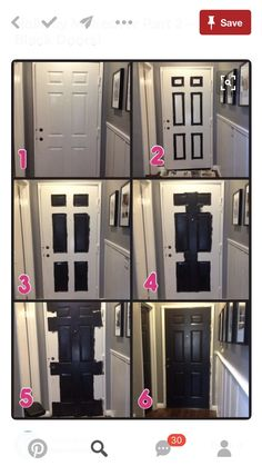 Hallway Makeover Part 2 - Black Doors! I wanted to show you how black doors can really turn a boring house into a warm home. I love black doors. It is so scary to paint a door black. Really…it is BLACK, but I LOVE how they turned … Black Interior Doors, Black Doors, Paint Doors Black, Interior Door Colors, How To Paint Doors, How To Paint Trim, Home Renovation, Home Remodeling, Home Upgrades