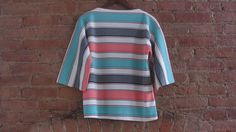 Vintage 1960s Boatneck Top  60s Mod Stripe Top  by GildedGypsies