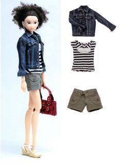 Momoko Casual Shorts, Striped Top and Denim Jeans Jacket Pattern PDF by AliceInCraftyland on Etsy https://www.etsy.com/listing/109847382/momoko-casual-shorts-striped-top-and