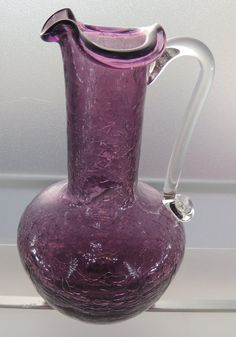 Deep Amethyst Crackle Glass Pitcher with Pontil by DLSpecialties Glass Jug, Glass Pitchers, Fenton Glass, My Glass, Glass Bottles, Teapots And Cups, Teacups, Vaseline Glass, Antique Glassware