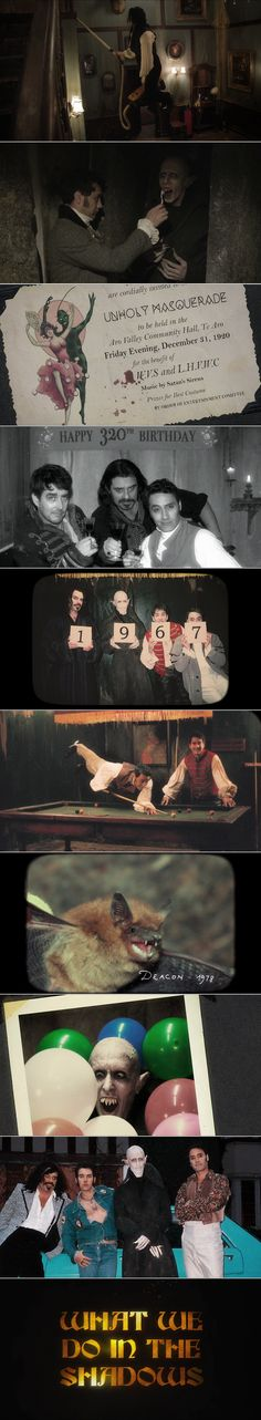 """What We Do In The Shadows: """"Vampires have had a pretty bad rap. We're not these mopey old creatures who live in castles. Well, some… Most of us are. A lot are. But there are also those of us who like to flat together in really small countries like New Zealand."""""""