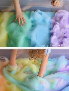 In a bowl, add tbsp of dish soap and 1/4 cup of water. Add food coloring to the mix of desired. Mix on the highest setting for 1-2 mins. Scoop out and repeat until you have the desired amount of foam. There ya go!
