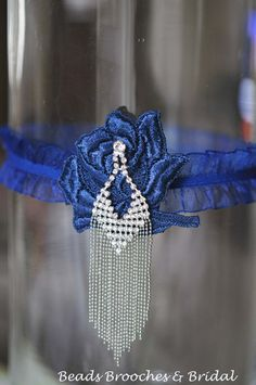 Blue Lace Wedding Garter, Navy Blue Wedding Garter with Fringes, Bridal Blue Garter, Something Blue, Great Gatsby Style Garter,