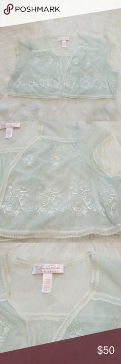 Oscar dela Renta lingerie top Great shape. 90s style. Very pretty lingerie top. Hangs loosely open. Baby blue with white lace and embroidery. Cute over a slip dress or to spice it up in the bedroom ;) Oscar de la Renta Intimates & Sleepwear Chemises & Slips