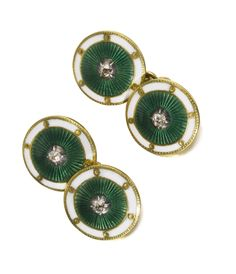 A PAIR OF IMPERIAL FABERGÉ JEWELLED GOLD AND ENAMEL CUFFLINKS, WORKMASTER MICHAEL PERCHIN, ST PETERSBURG, 1895-1899 each link circular, enamelled in translucent green over asunburst-engraved grounds centred with a circular-cut diamond, the white opaque enamel borders divided by pellets, struck with workmaster's initials, 72 standard, scratched inventory number 51613 Quantity: 2 diameter 1.2cm, 1/2 in. Estimate  10,000 — 15,000 GBP  LOT SOLD. 16,250 GBP