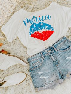 Awkward Styles Womens USA Flag Red White Cute Patriotic Off Shoulder Tops Sweatshirt 4th of July