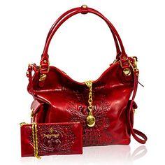 Marino Orlandi Designer Red Alligator Leather Handbag & Wallet w/Chain Set
