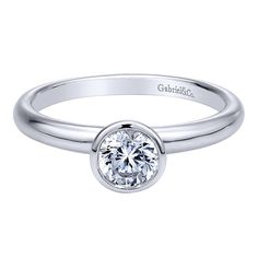 14K White Gold Classic Bezel Set Round Diamond Engagement Ring