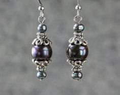 Black pearl linear long chain earrings by AnniDesignsllc on Etsy