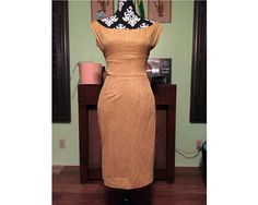 1950s Gold Metallic Wiggle Dress by StardustVintageRetro on Etsy