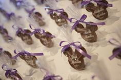 These chocolate Mickey escort cards are a sweet treat for wedding guests #Disney #wedding #chocolate #Mickey #favor #escortcard