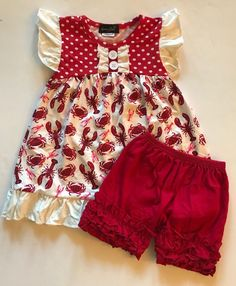 1eefb584878 Nautical Boutique 3T 4T 5 6 7 8 10 12 14 Ruffle Shortie Set Crab Red